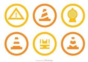 Onder constructie cirkel iconen