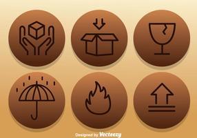 Fragiele Pictogrammen Op Cirkel Stickers vector