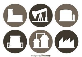 Fabrieks cirkel iconen vector