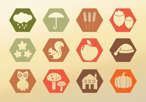 Set iconen herfst vector