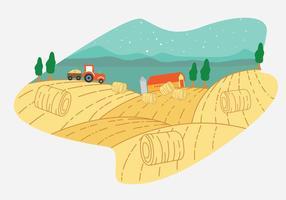 Hay Bale Farm Vector Scène