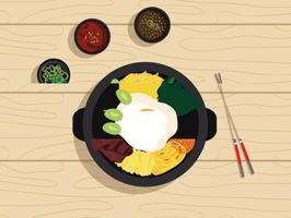 Vector Bibimbap Koreaans Voedsel