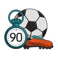 voetbal met cartoons van de tijdopnamesport