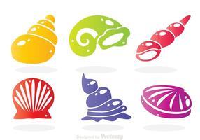 Sea Shell Kleuren Pictogrammen vector