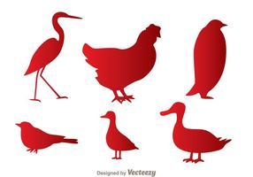 Vogels Rode Silhouet Pictogrammen