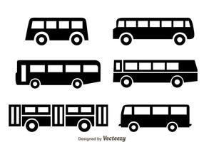 Bus Zwarte Pictogrammen vector