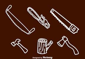 Lumberjack witte iconen