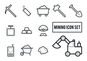 Mijnbouw pictogram set