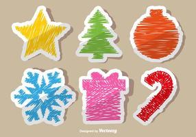 Kerstmis doodle stickers