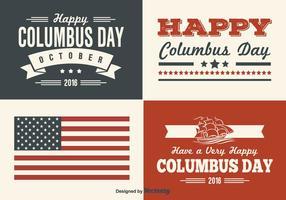 Columbus dag retro stijl label set vector