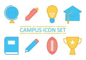 Campus lijn iconen vector