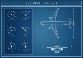 Gratis vliegtuig blauwdruk vector