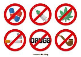 Geen drugs tekens iconen vector