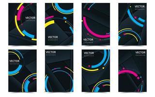 set van zwarte en neon voorbladsjabloon voor brochures vector
