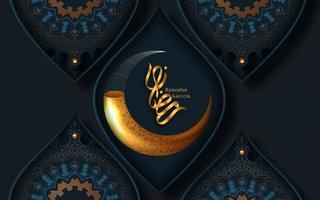 ramadan kareem gouden halve maan decoratieve begroeting vector