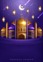 ramadan kareem prachtige wenskaart met moskee en vallende sterren