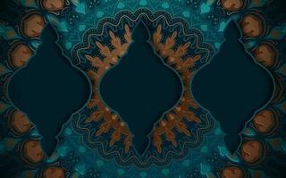 turquoise en gouden sierlijke achtergrond vector