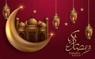 ramadan kareem gouden maan en moskee op rood ontwerp vector