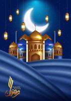ramadan kareem verticale wenskaart met moskee en gordijn vector