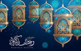 ramadan kareem hangende lantaarns op blauwe groet vector