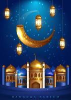 ramadan moskee ontwerp met moskee en lantaarn op blauw