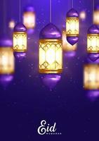 gloeiende lantaarns paars eid mubarak de vector