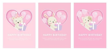 gelukkige verjaardagskaarten instellen vector