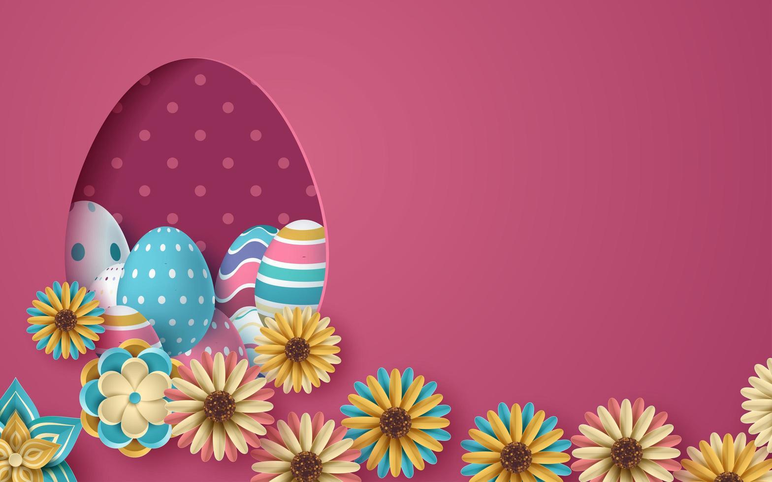 rosa påskkort med 3d-ägg med skuren pappersäggform vektor