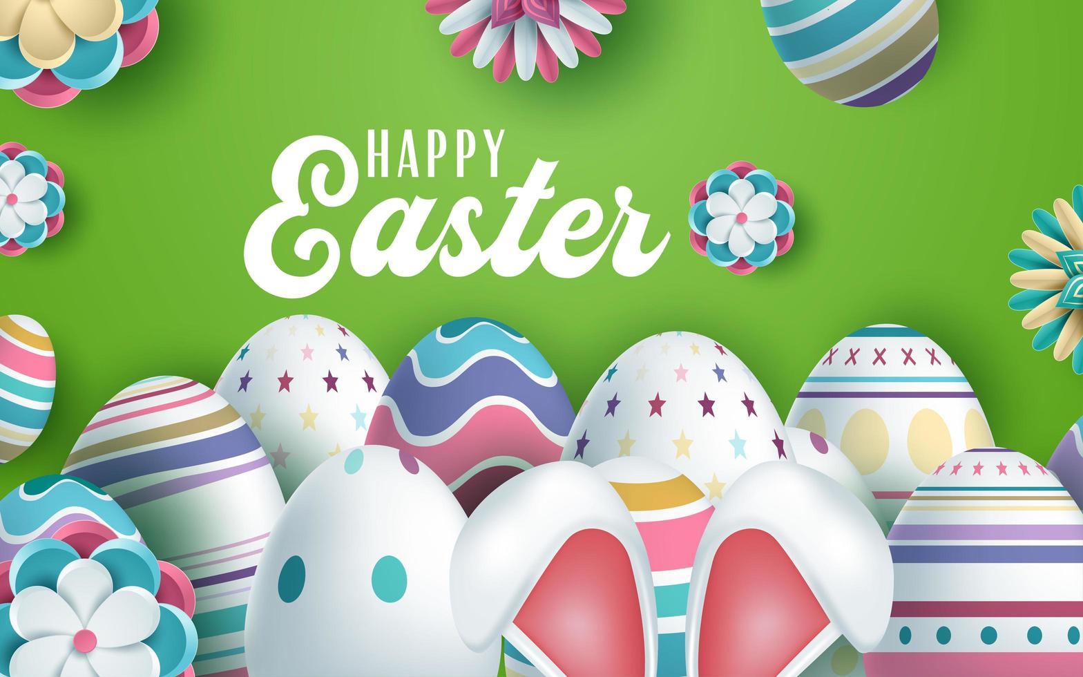 kaninöron och dekorerade ägg påskhälsningsdesign vektor