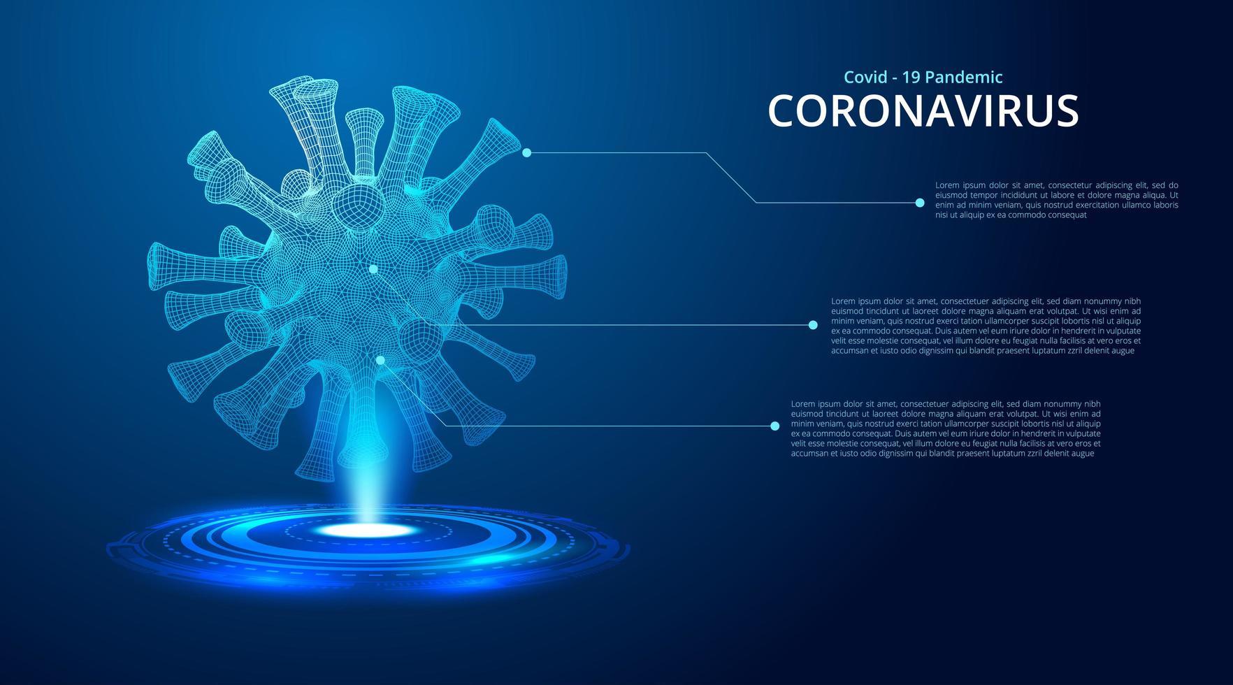mörkblå lysande 2019-ncov coronavirus låg poly vektor