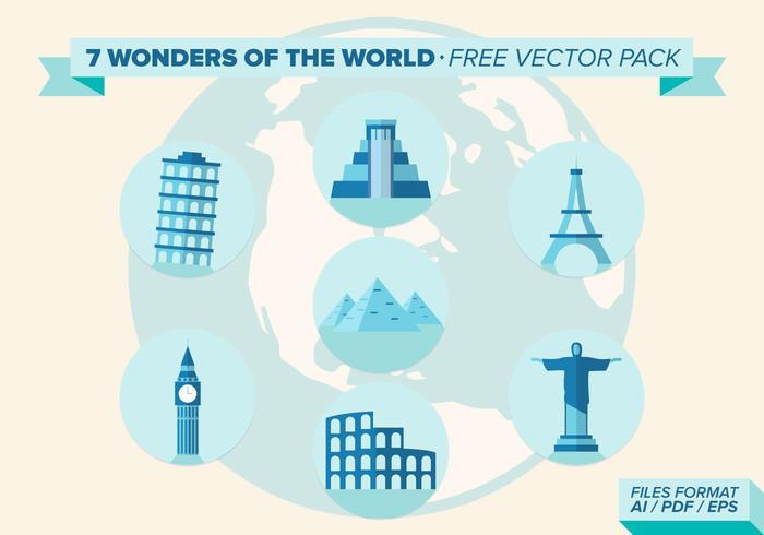 7 Wunder der Welt Free Vector Pack