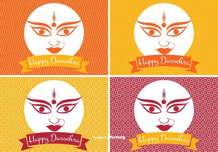 Happy Dussehra Etikett Set vektor