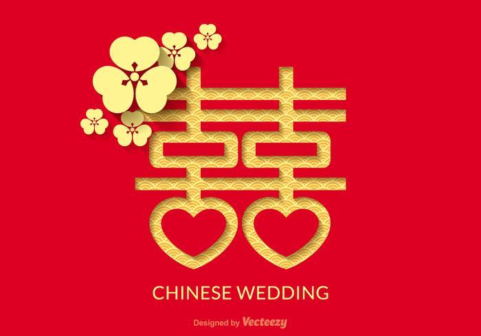 Gratis kinesisk bröllopsvektor design vektor