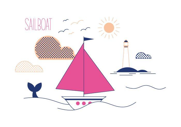 Gratis segelbåtvektor vektor