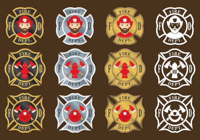 Feuerwehrmann Embleme vektor