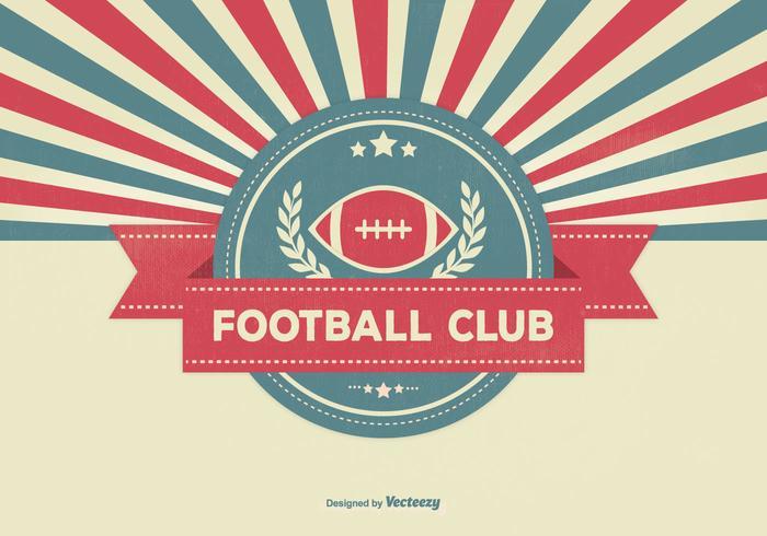 Retro Sunburst Stil Fußball Club Illustration vektor