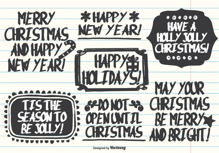 Handdragen Marker Pen Style Christmas Etiketter vektor