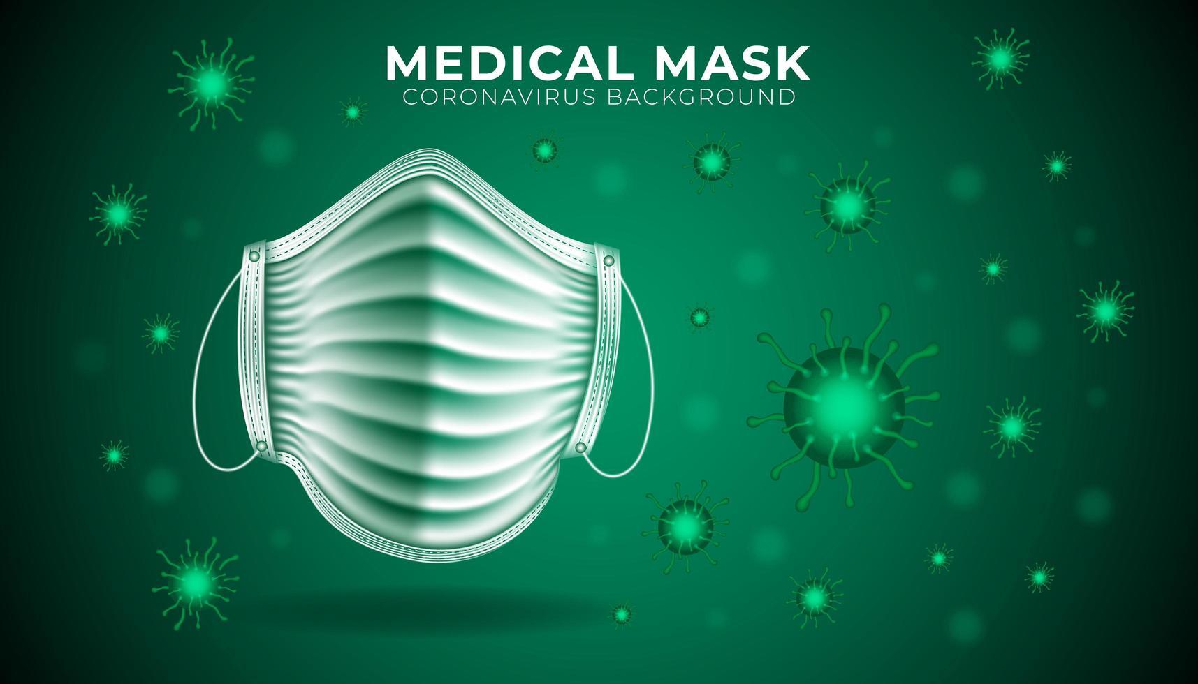 grüner medizinischer Maskenschutzhintergrund vektor