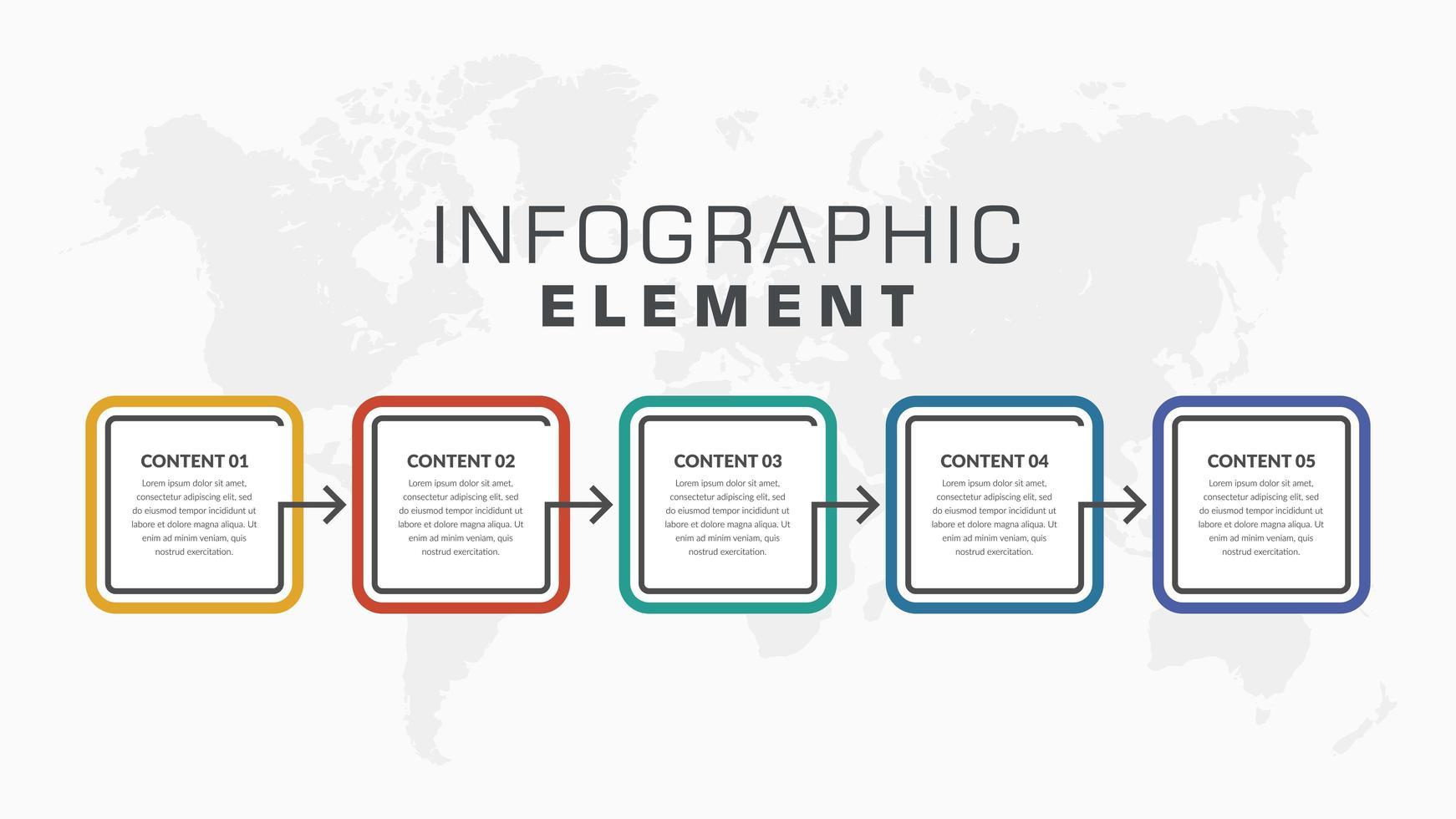 buntes 5-Stufen-Infografik-Geschäftsflussdiagrammdesign vektor