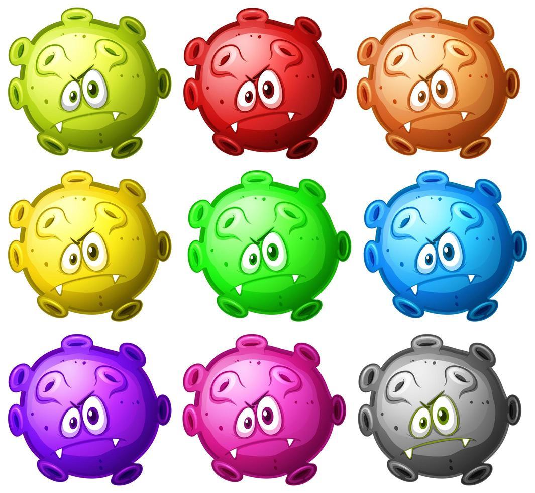Nahaufnahme Virus Cartoon Cell Set vektor