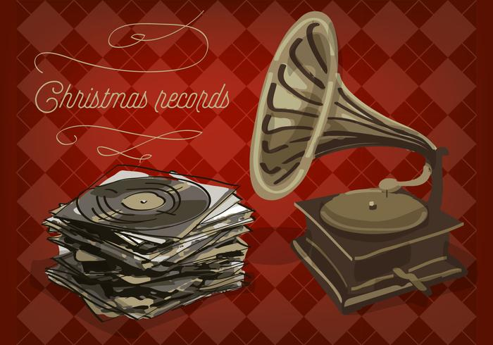 Free Christmas Vinyl Records Vektor Hintergrund