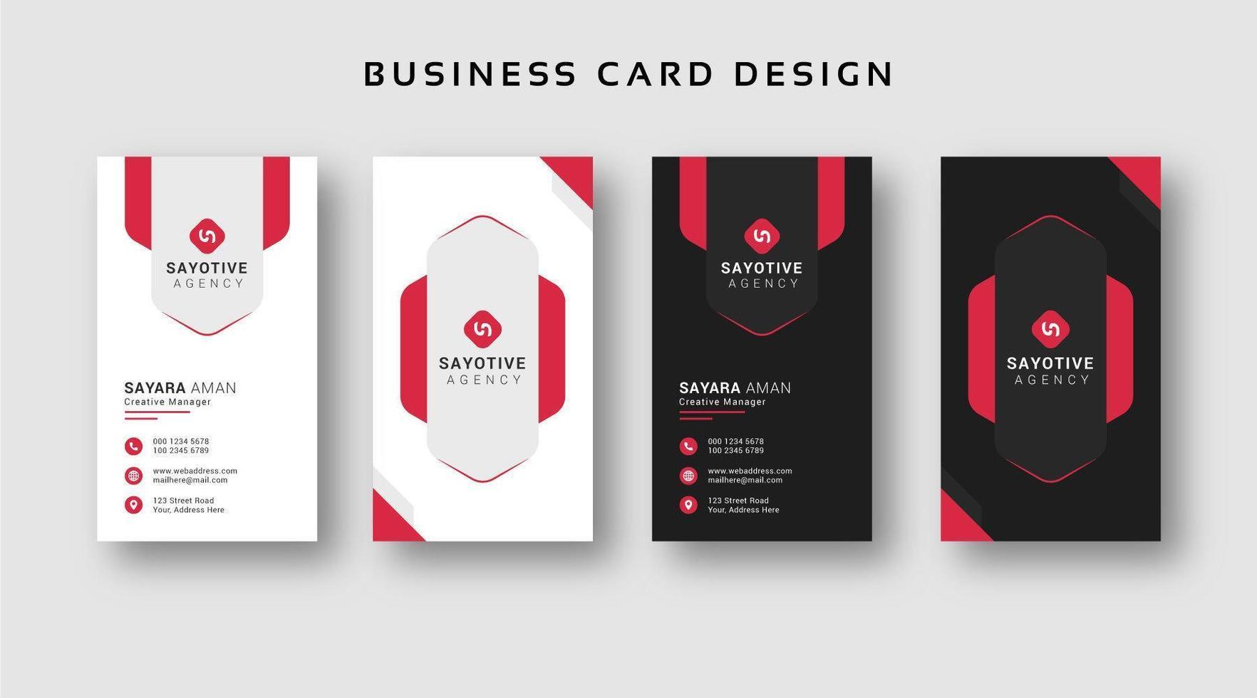 svartvita visitkortsuppsättning med röda accenter vektor