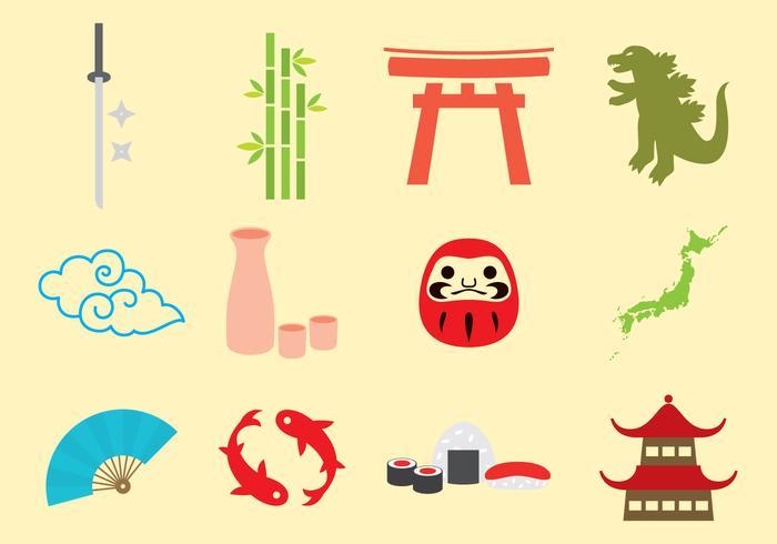 Japanska ikoner vektor