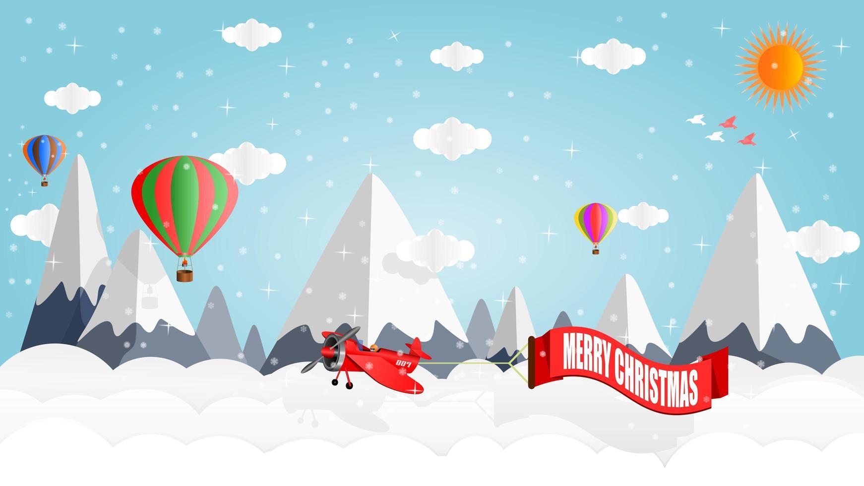 flygplan och ballonger ovanför snöklädda berg vektor