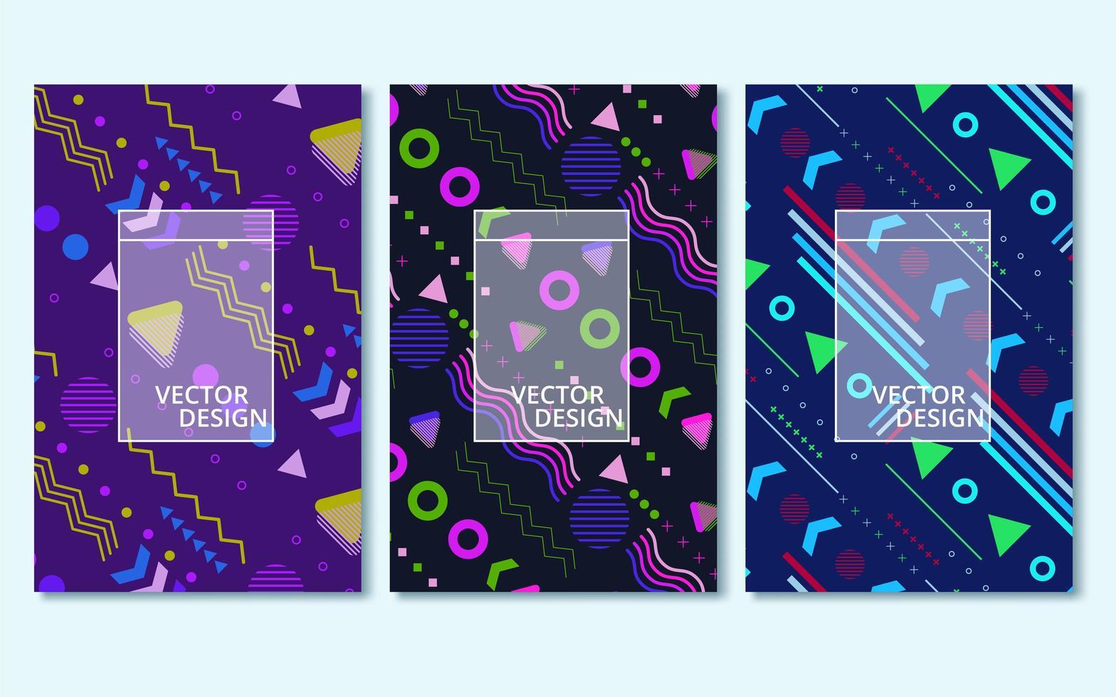 färgglada moderna abstrakta omslag set vektor