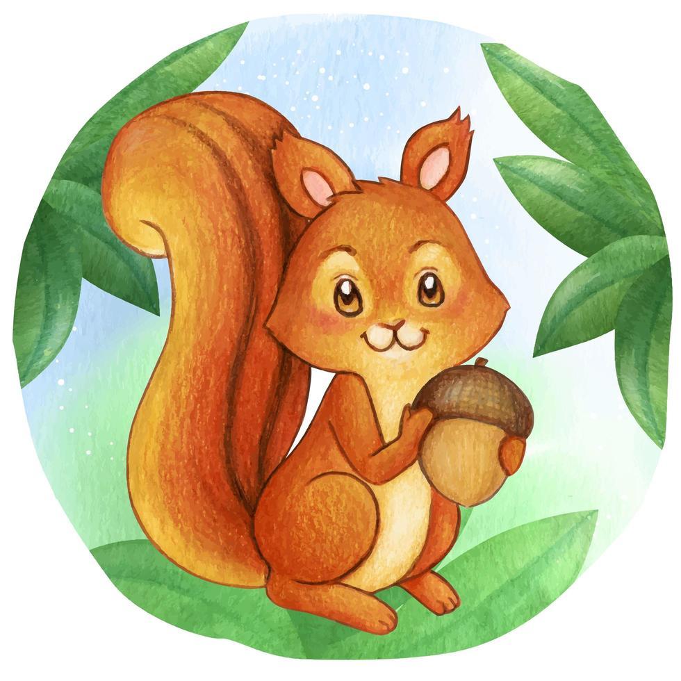 Aquarell Eichhörnchen hält Eichel vektor
