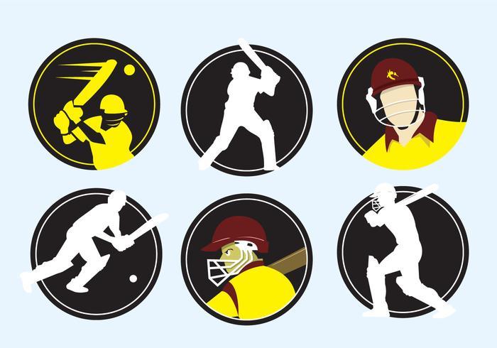 Cricket Spieler Icons vektor