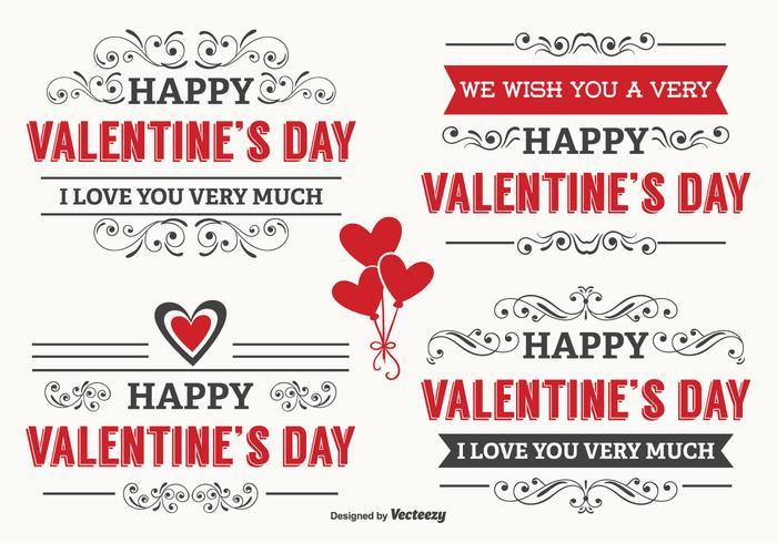Typografische Valentinstag-Etiketten vektor