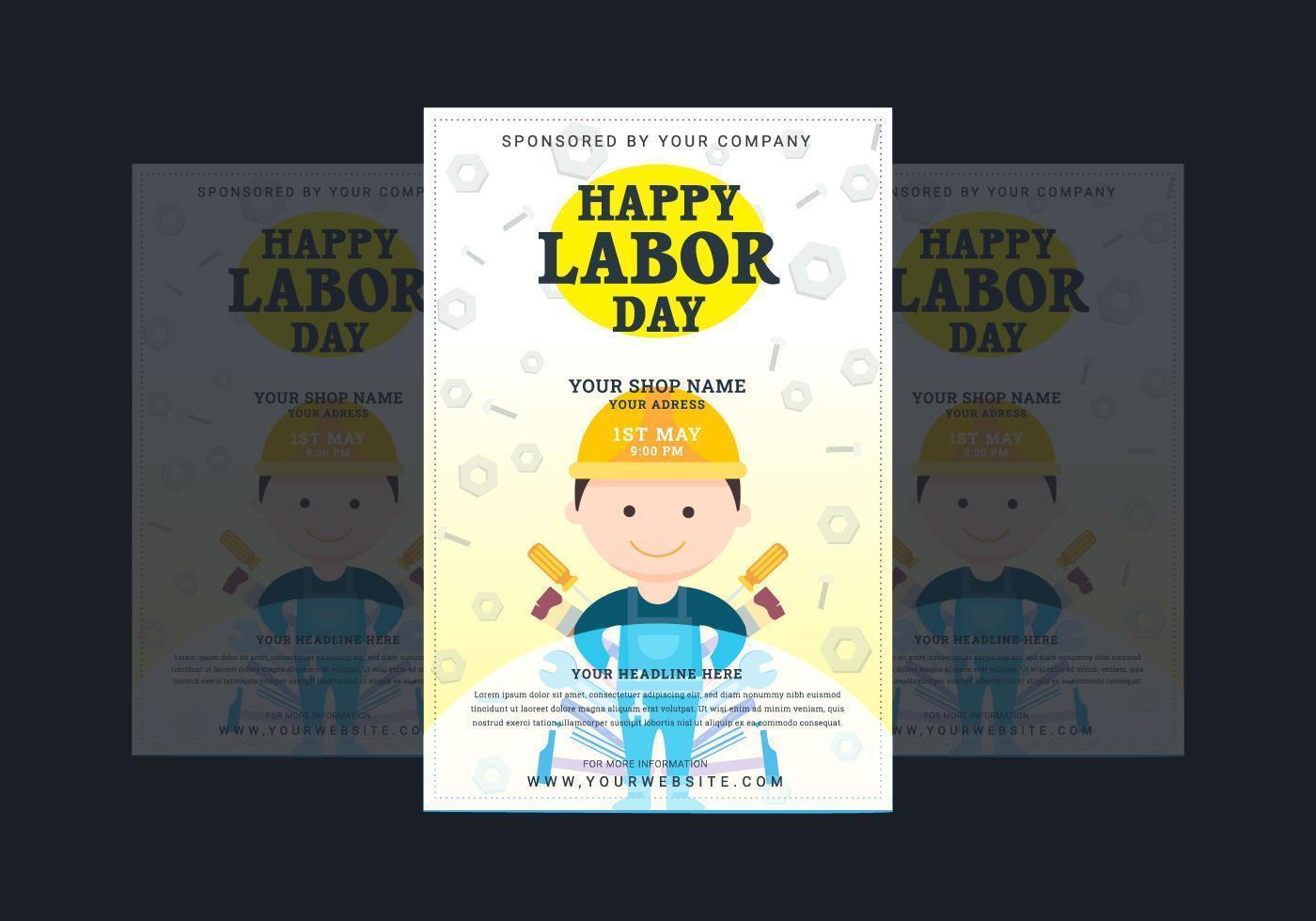 arbetsdag affisch med tecknad arbetare vektor
