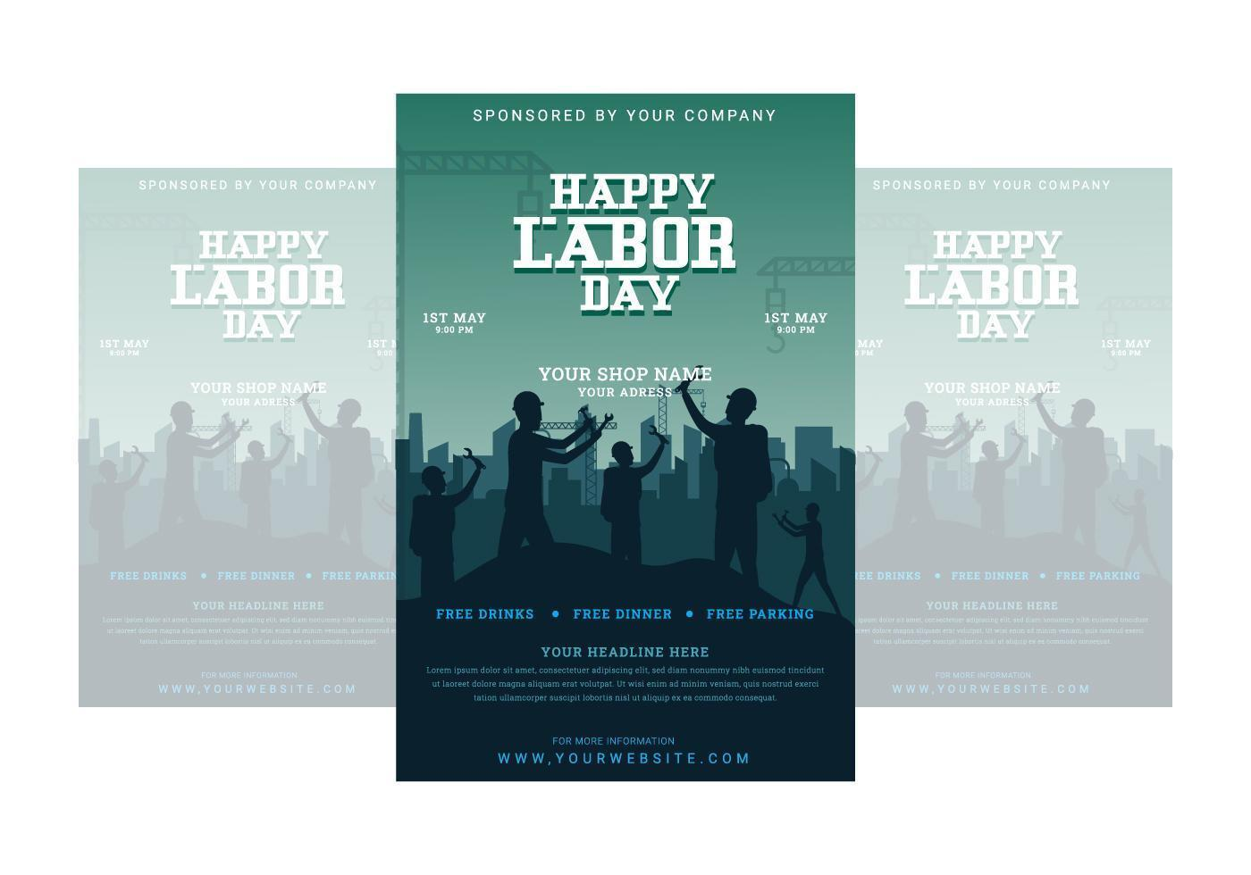 lycklig arbetsdag affisch med arbetare som hejar tillsammans vektor